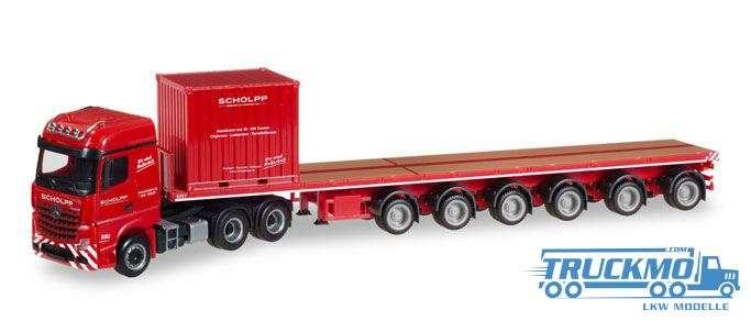 Herpa Scholpp Mercedes Benz Arocs 6x4 Ballasttrailer 10ft Container 308786