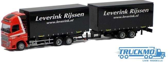 AWM Leverink Volvo 12 XL Jumbo Gardinenplanenhängerzug Tandem LKW Modell