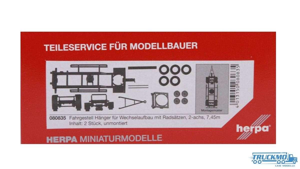 Herpa Hängerfahrgestell für Wechselaufbau mit Radsätzen (7,45m) Inhalt: 2 Stück 080835