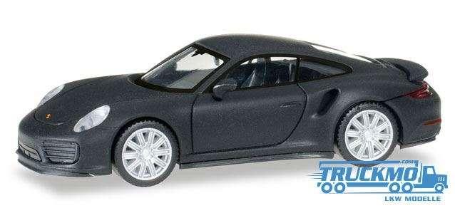 Herpa Porsche 911 Turbo, mattschwarz mit Chromfelgen 038713