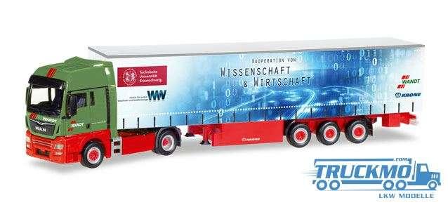 Herpa Wandt / TU Braunschweig LKW Modell MAN TGX XXL Gardinenplanen-Sattelzug 307925