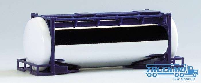 AWM 20ft. van Hool-Chromtankcont. -überlang- (Rahmen dkl.-blau, Endkappen weiß) 490075