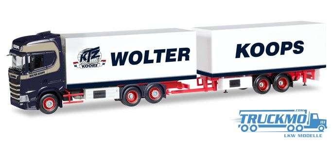 Herpa Wolter Koops Scania CS Hochdach Kühlkoffer-Hängerzug 308946