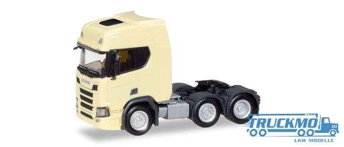 Herpa LKW Modell Scania CR 20 HD 6x2 Zugmaschine hellgelb 308816