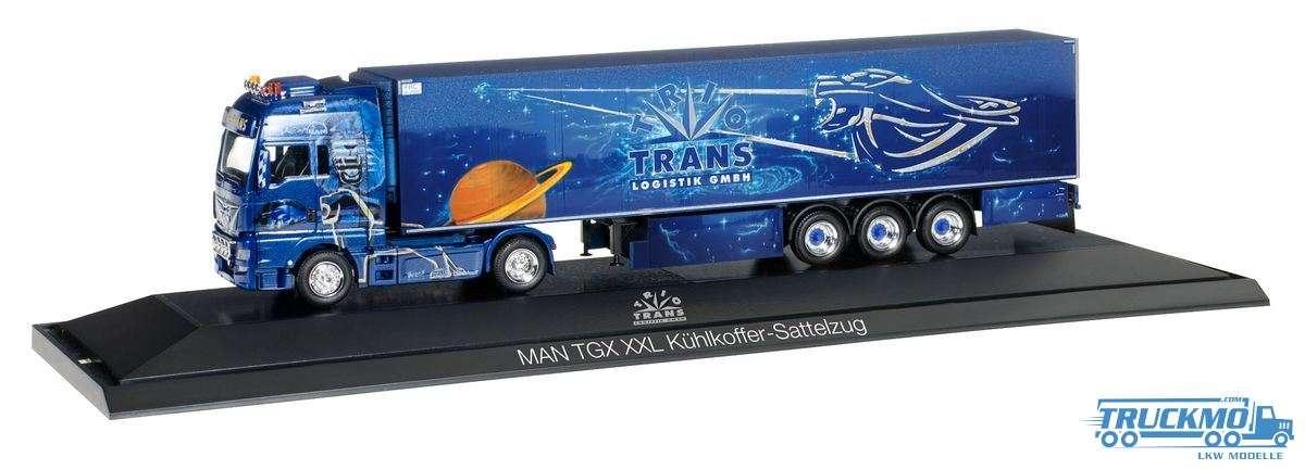Herpa Trio Trans LKW Modell MAN TGX XXL Kühlkoffer-Sattelzug 121705