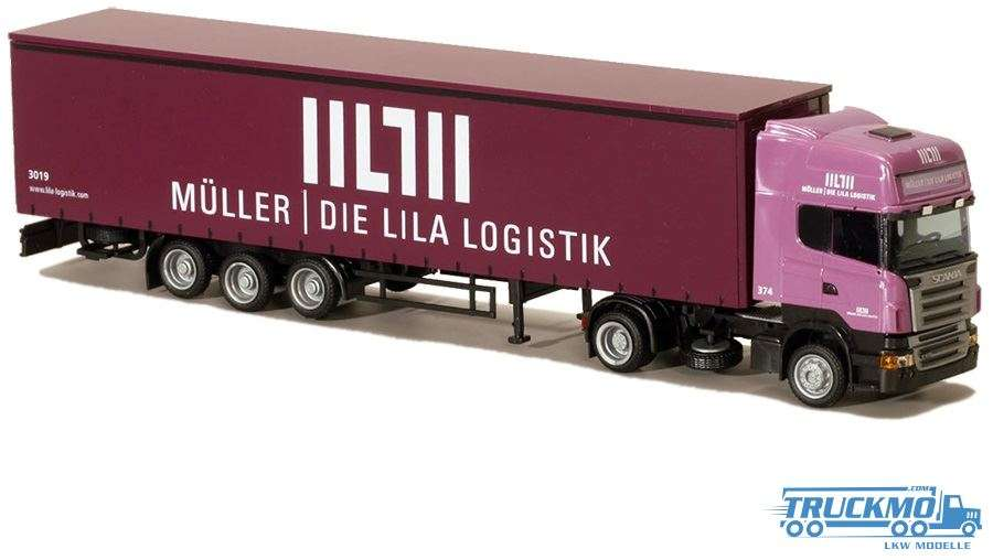 AWM Müller Lila Logistik Scania R Topline Gardinenplanenauflieger 75815