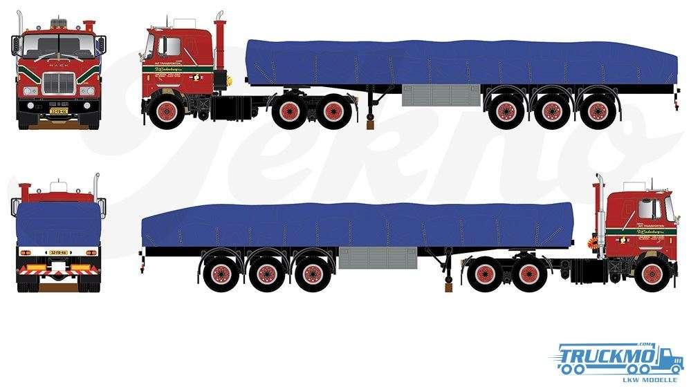 Tekno Lindenberg Mack F700 flat trailer with covered loading 70581