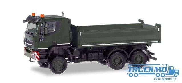 Herpa Schweizer Armee Iveco Trakker 6x6 Baukipper-LKW 746656