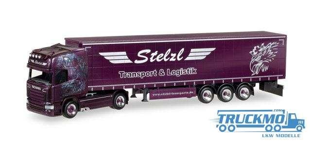Herpa Stelzl LKW Modell Scania R TL Gardinenplanen-Sattelzug 307987