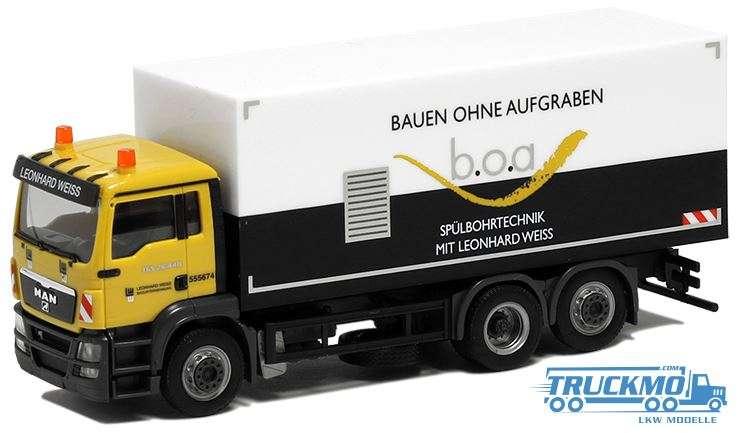 Herpa Leonhard Weiss Bauen ohne Aufgraben MAN TGS M Koffer LKW 936118
