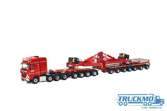 WSI KNT Red Line Mercedes-Benz Arocs Big Space SLT 8x4 Nooteboom Mega Windrad Trailer 7 Achs / Dolly