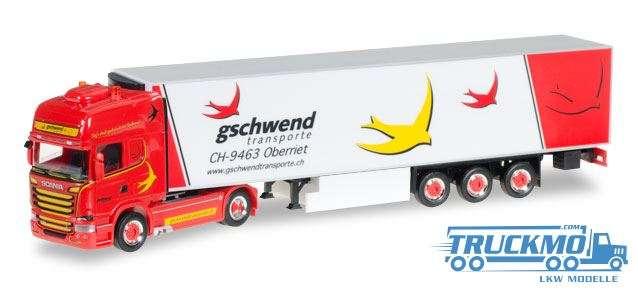 Herpa Gschwend Scania 13 V8 Topline Kühlkoffersattelzug 921824