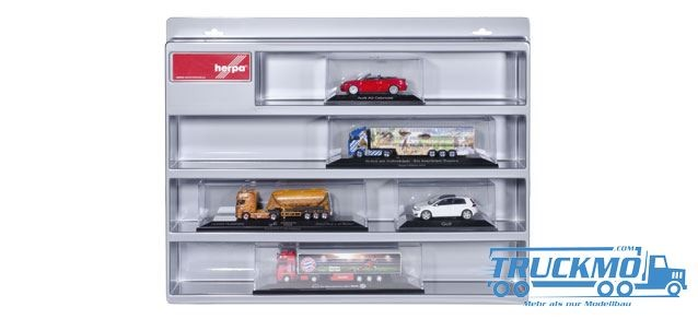 Herpa Schaukasten für PC Zugmaschinen,Sattelzüge und PKW silber (56,5cm x 45,0cm x 8,5cm)