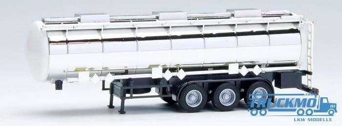 AWM Chromtankauflieger 3achs Endkappen weiß, Chassis schwarz 660054