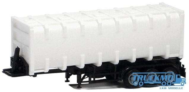 Herpa Bulkcontainer-Aufl. 3 achs Container weiß Chassis schwarz 672204