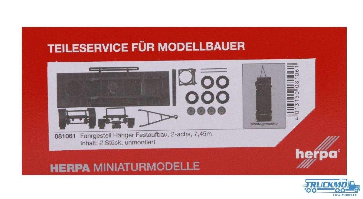 Herpa Hängerfahrgestell für Festaufbau 2-achs (7,45m) 2 Stück 081061