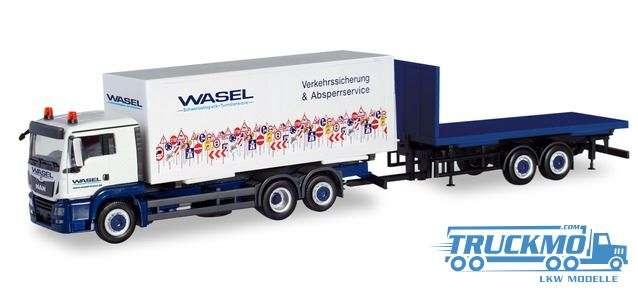 Herpa Wasel Krane MAN TGS XL Wechselkoffer Lkw Hänger Flat 310918