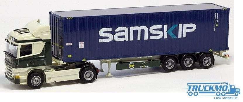 AWM Cargoboss / Samskip LKW Modell Scania 09 Highline 40' Container Sattelzug 74989