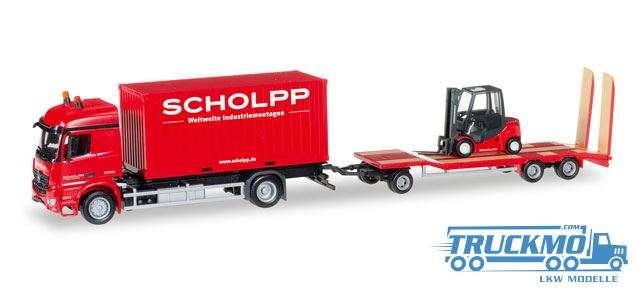 Herpa Scholpp LKW Modell Mercedes-Benz Arocs Container-LKW mit TU3 und Gabelstapler 306232