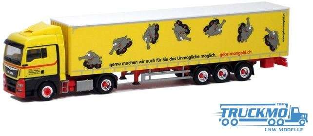 Herpa Mangold MAN TGX XLX Euro 6 Gardinenplanen Sattelzug LKW-Modell 922692
