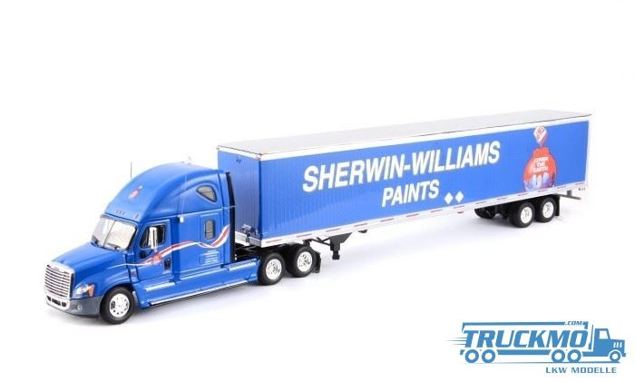 Tonkin Freightliner Cascadia Sleeper Cab Raise Roof 6x4 + 53 Van Trailer Sherwin truck
