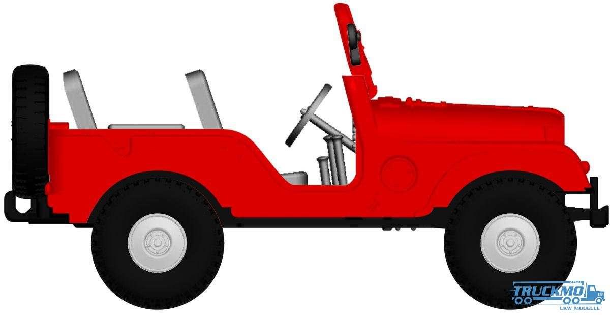 Brekina Jeep Universal Arwico rot 58904