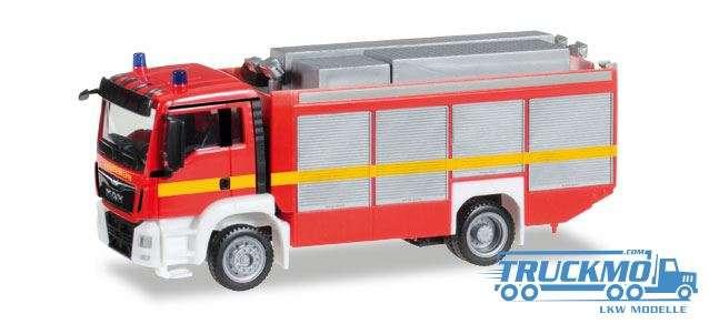 Herpa Feuerwehr MAN TGS M Euro 6 Rüstwagen RW2 leuchtrot 091077-002