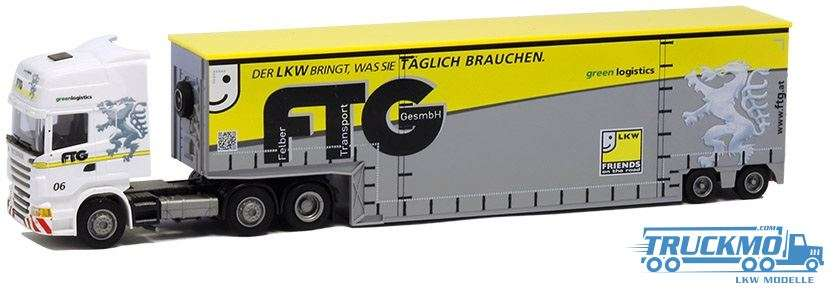 AWM FTG LKW Modell Scania 09 Topl. Aerop. Tiefbett Sattelzug 8492.42