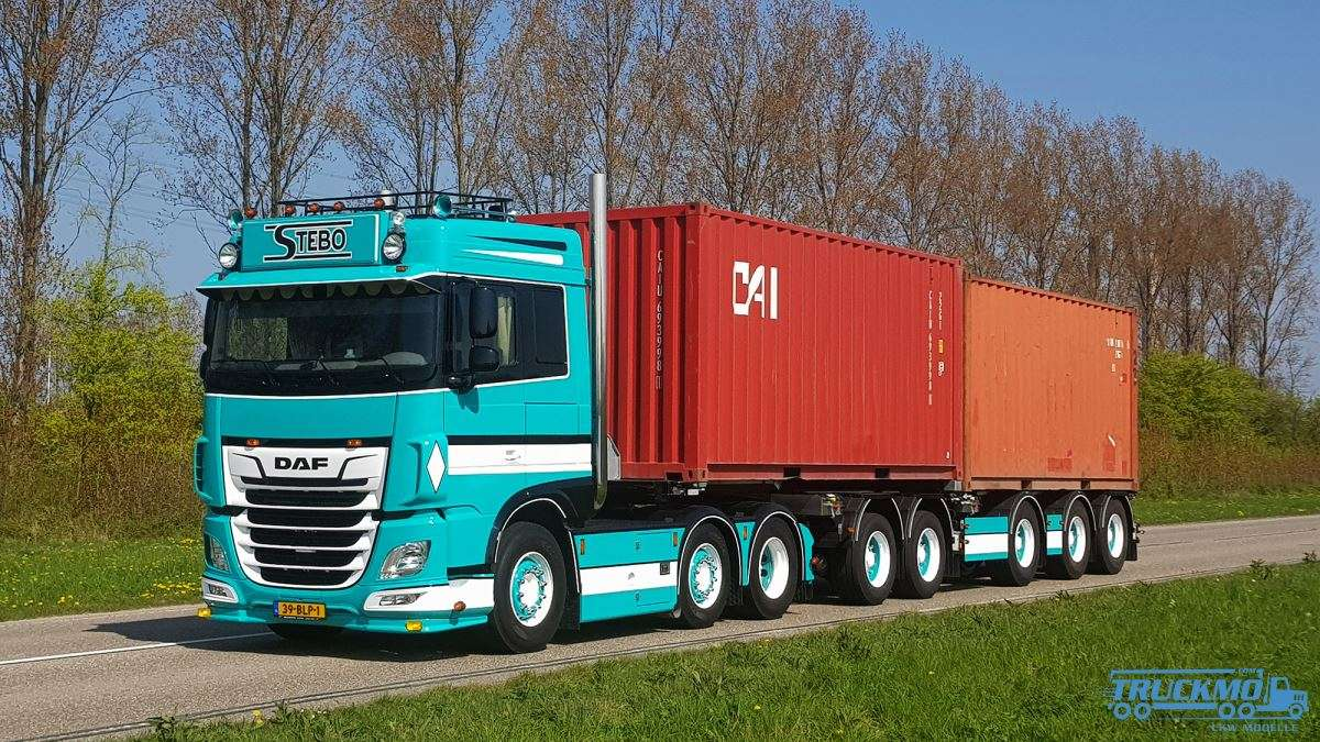 WSI Stebo Transport DAF XF Space Cab MY 2017 Twin Steer 2Connect Combi  Trailer 01-2875