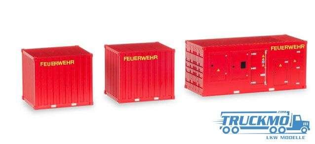 Herpa Feuerwehr Zubehör 1 x Stromaggregat und 2 x 10 ft. Container 076807