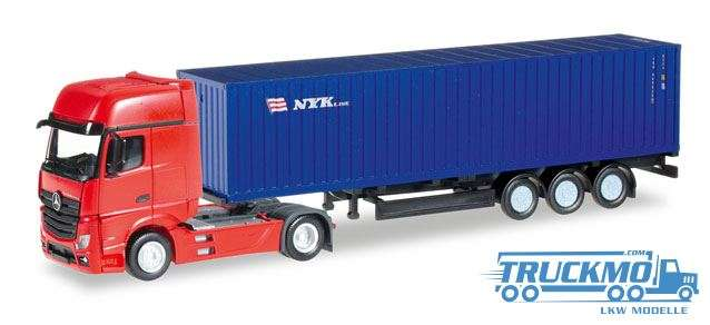 Herpa NYK LKW Modell Mercedes-Benz Actros Gigaspace Container-Sattelzug 1:160 066471