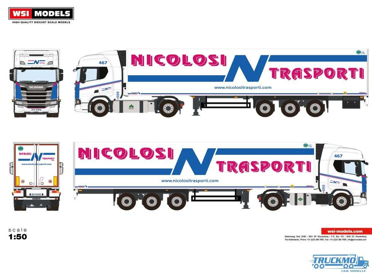 WSI Models Nicolosi Transporti Scania R Highline CR20H Kühlauflieger 01-2906