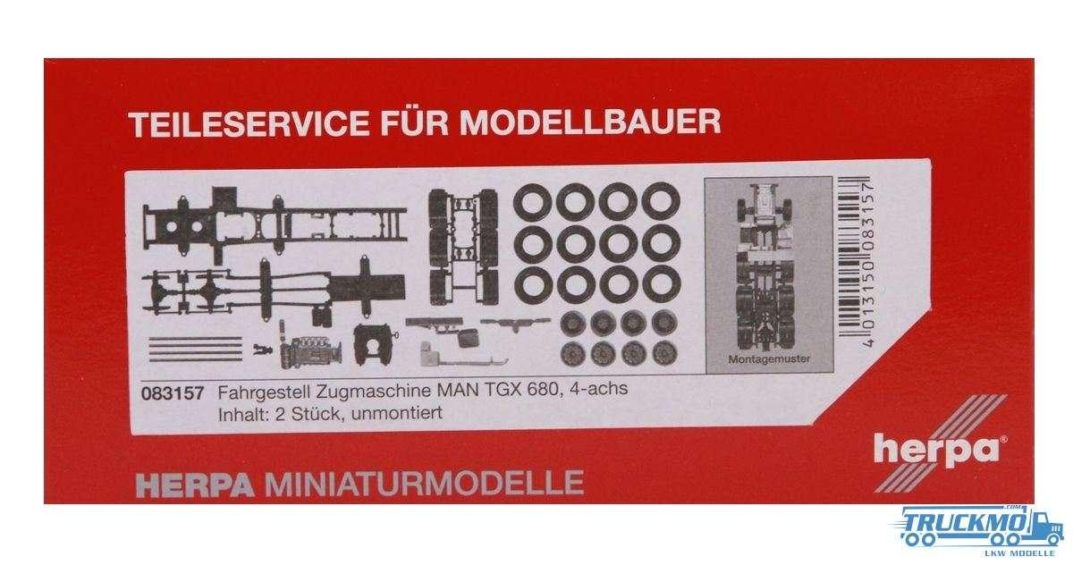 Herpa Zugmaschinen-Fahrgestell LKW Modell MAN TGX 680 Schwerlastzugmaschine 4-achs Inhalt: 2 Stück