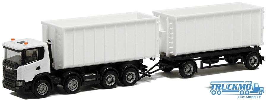 Herpa Scania CG 17 Abrollmulden-Hängerzug weiß Chassis schwarz BM936460
