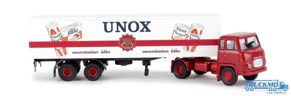 Brekina Unox Scania LB 76 Koffer-Sattelzug 85170