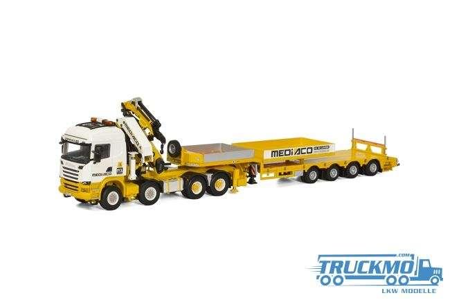 WSI Mediaco Scania Streamline Highline + Palfinger 7400.2 + Jib + Ballast box Semi Lowloader 4 axle