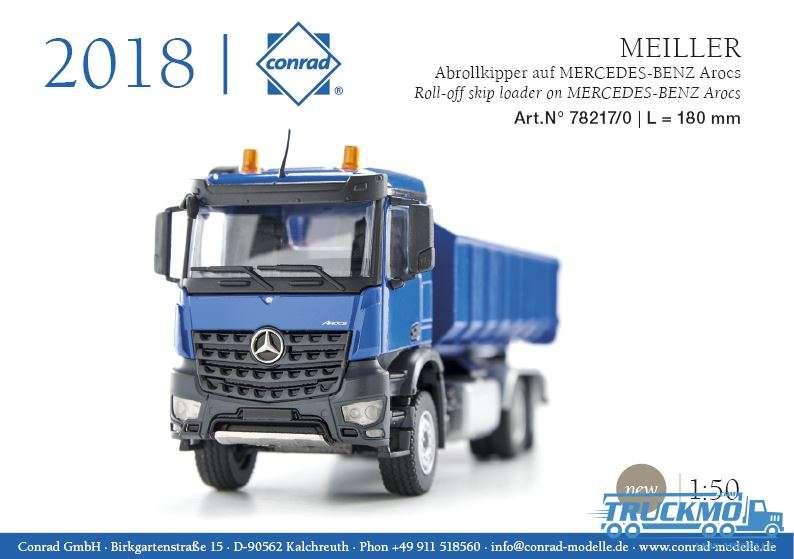 Conrad Mercedes Benz Arocs blau Meiller Abrollkipper 78217/0