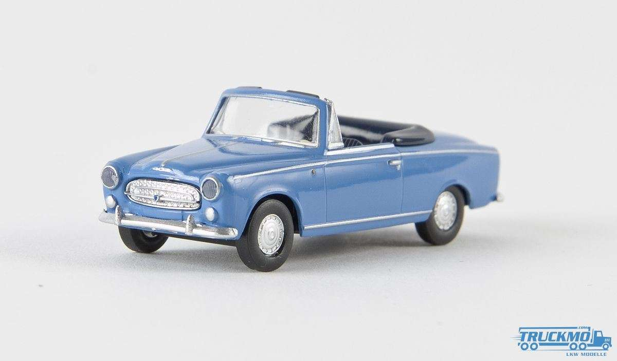 Brekina Cabrio Peugeot 403 lichtblau Drummer 29155