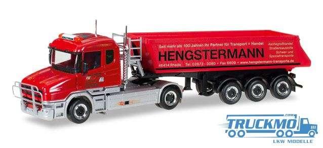 Herpa Hengstermann Rhede LKW Modell Scania Hauber Schmitz Kipp-Sattelzug 307390