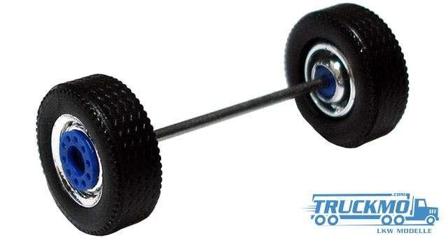 Herpa Radsatz 2 teilig chrom blau, MEDI Breitreifen Vorderachse und Aufliegerachse 690105E