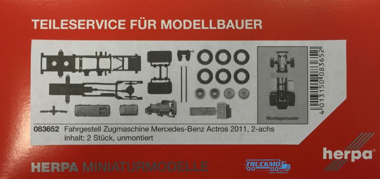 Herpa Mercedes Benz Actros 2011 Zugmaschinen-Fahrgestell Inhalt: 2 Stück 083652