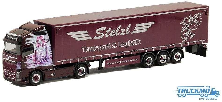 Herpa Stelzl Volvo FH Globetrotter Gardinenplanen-Sattelzug 936804
