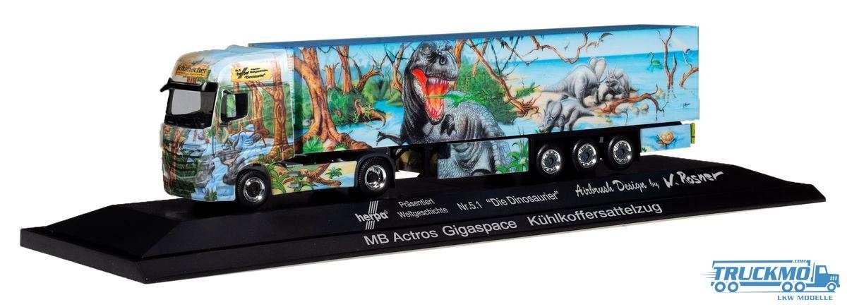 Herpa Weltgeschichte Nr. 5.1 Die Dinosaurier Mercedes-Benz Actros Gigaspace Kühlkoffer-Sattelzug 121
