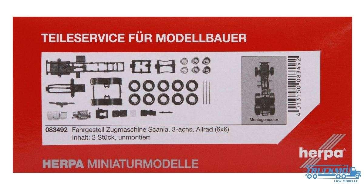 Herpa Zugmaschinen-Fahrgestell LKW Modell Scania 3-achs Allrad Inhalt: 2 Stück