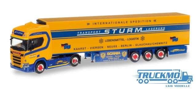 Herpa Spedition Sturm LKW Modell Scania CR 20 HD Kühlkoffer-Sattelzug 307826