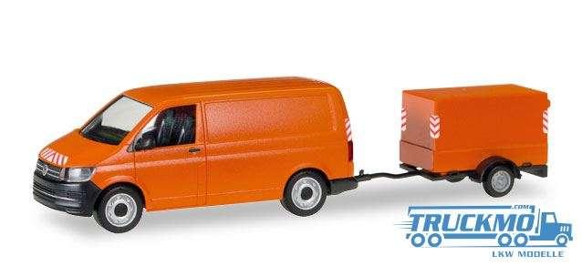 Herpa VW T6 Transporter mit Planen-Anhänger 093071