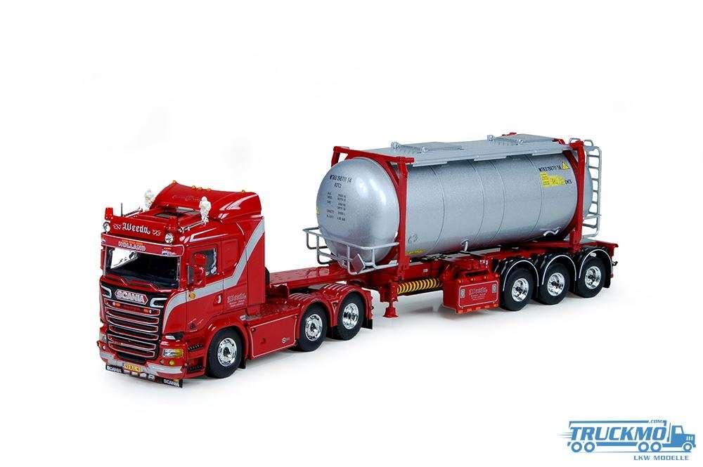 Tekno Weeda Blacklist Scania R-Serie Lowline mit Swap Tankcontainer Trailer 72803