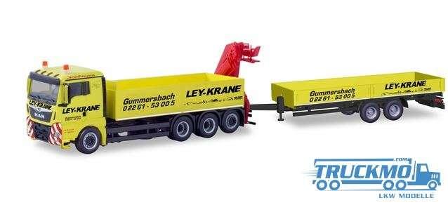 Herpa Ley Krane Gummerbach MAN TGX XL Euro 6c Ladekran Tiefladeanhänger 310741