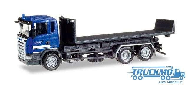 Herpa THW Elmshorn LKW Modell Scania R Abrollflat-LKW 307505