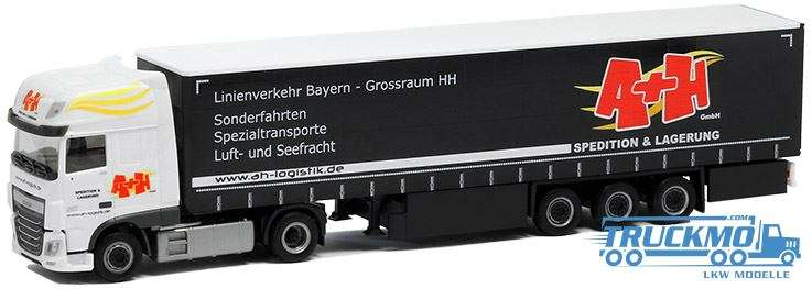 Herpa A + H Spedition DAF XF Euro 6 SSC Planenauflieger 5015
